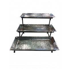 THREE ALUMINUM TRAY W/IRON STAND